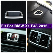 Matte Interior Rear Trunk Box Clapboard Handle / Armrest Box Rear AC Air / Warning Lights Cover Trim For BMW X1 F48 2016   2020