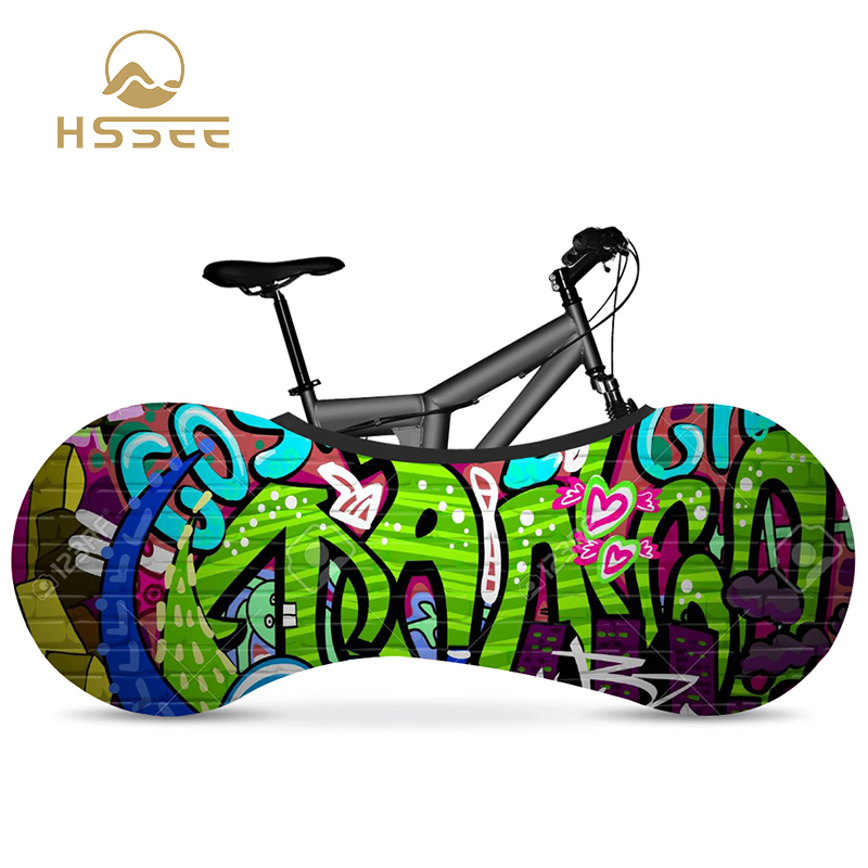 """HSSEE graffiti series elastic bicycle indoor dust cover elastic fabric bicycle tire cover 700c 26""""-28"""" road bike accessories(China)"""