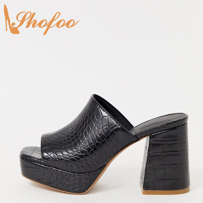 Mules en peau de Croc noir chaussures femmes sandales à l'extérieur de la mode talons aiguilles plate-forme grande taille 10 15 Peep orteil haut talons carrés Shofoo