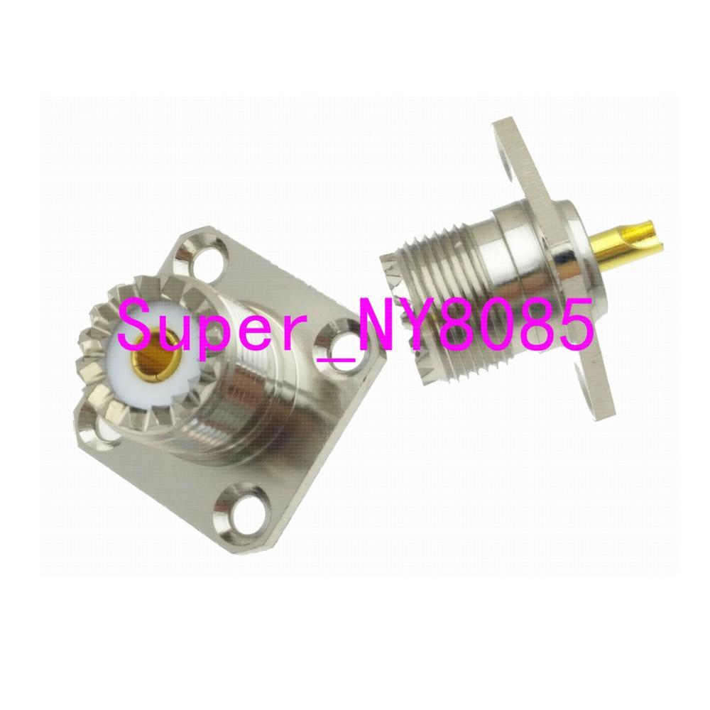 Connector UHF SO239 Female Jack 4-holes Flange Solder Cup Panel Mount