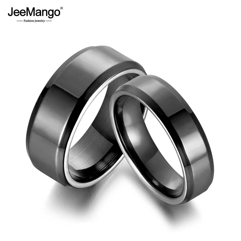 JeeMango Fashion Stainless Steel Glossy Rings For Women Men Simple Couple Titanium Steel Wedding Ring Jewelry Anneau JR18114