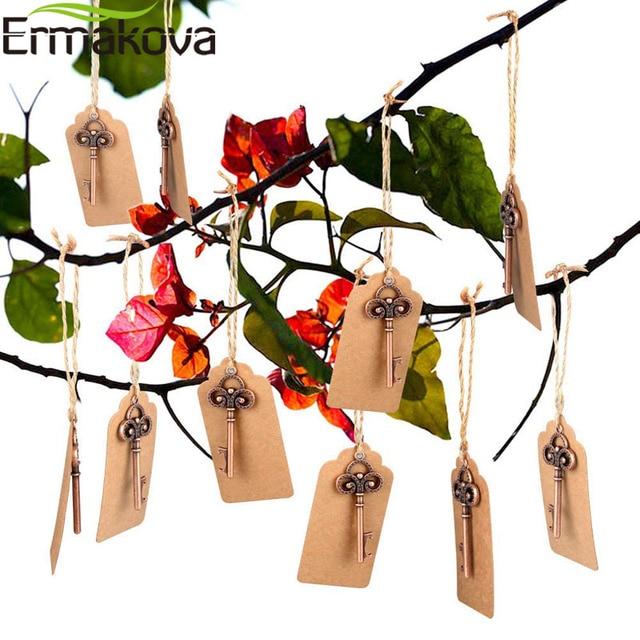 ERMAKOVA 50ชิ้น/ล็อตที่เปิดขวดโครงกระดูกไวน์Blank Cardสำหรับผู้เข้าพักRustic Wedding Party Favorsของขวัญของที่ระลึก