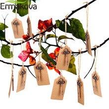 Ermakova 50 pçs/lote abridor de garrafa chave esqueleto abridor de vinho em branco cartão para convidados rústico festa de casamento favores lembrança presentes