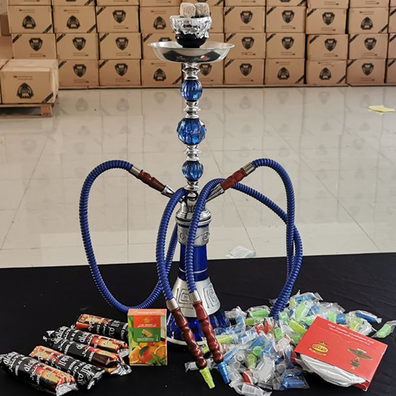 Arab Large Double Pipe Glass Hookah Set With Narguile Ceramic Bowl Charcoal Tongs Bar KTV Accessories Chicha Accessories Gift