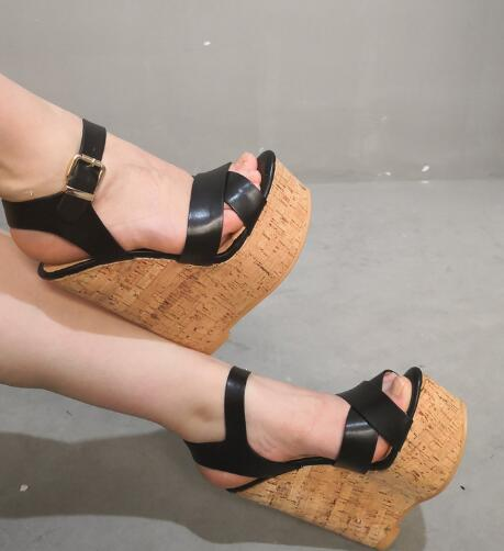 Moraima Snc Black Leather Wedge Sandal Summer Peep Toe Platform Ankle Strap Gladiaotr Shoes Super High Sexy Sandal