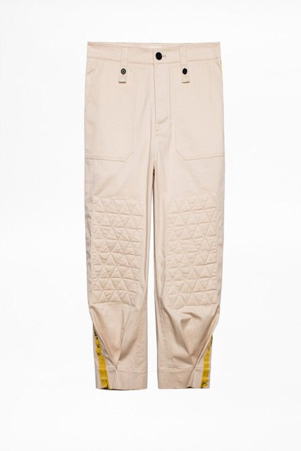 Women's Long Pants Straight Yellow Ribbon Letter Embroidery Loose Ladies Trousers Autumn Winter