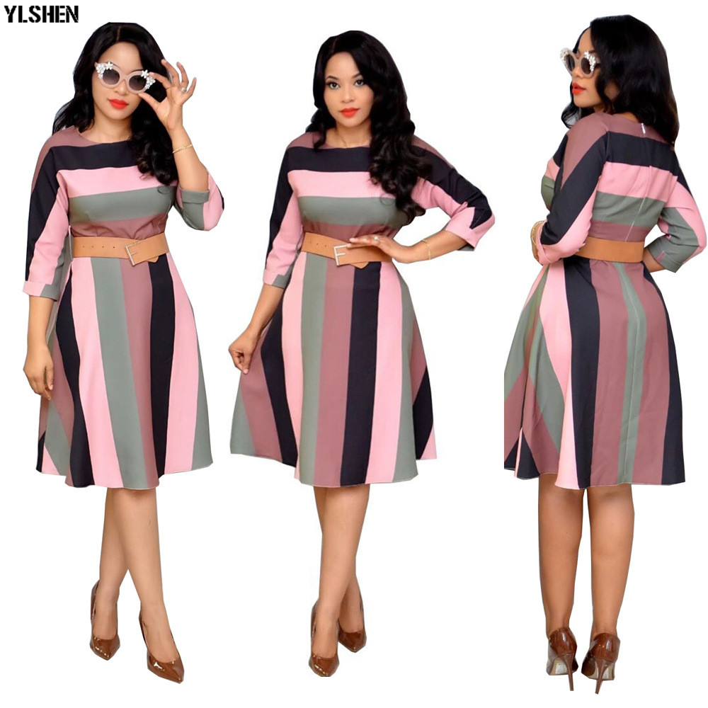 African Dresses For Women African Clothes Africa Dress Stripe Print Dashiki Ladies Clothing Ankara Plus Size Africa Women Dress