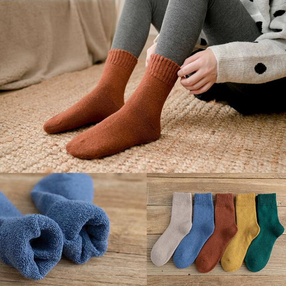 1 Pair Winter Solid Color Thickening Terry   Socks   Harajuku Female Unisex   Socks   Hipster Fashion Animal Print Ankle   Socks   Keep Warm