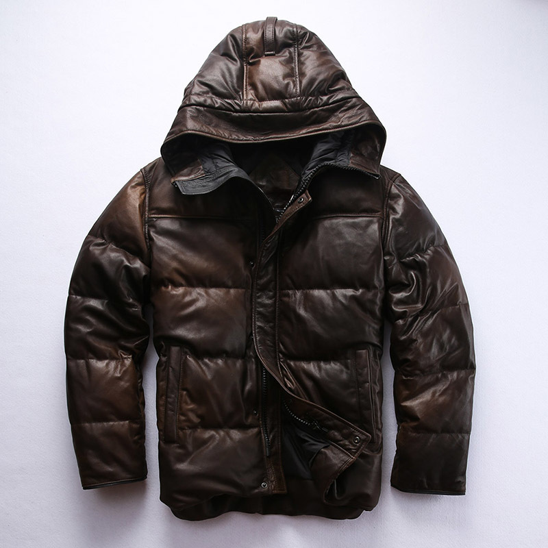 Factory 2020 New Men Brown Genuine Leather Down Coat Fashion Sheepskin Hooded Pilot Jackets Russia Winter Coats Free Shipping