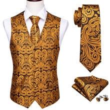 4PC Mens Silk Vest Party Wedding Gold Paisley Solid Floral Waistcoat Pocket Square Tie Slim Suit Set Barry.Wang BM-2012