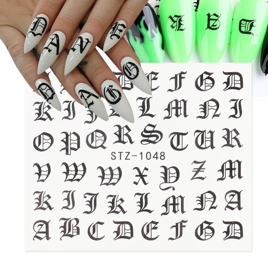 ABC mektup çıkartmaları Nail Art çıkartmaları İngilizce eski yazı siyah numarası dövme tırnak tasarım su kaydırıcılar manikür sarar CHSTZ1046-1049