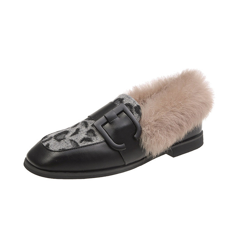 Winter Shoes Women Shallow Mouth Square Toe Loafers Fur Casual Female Sneakers Autumn 2019 Fashion Women's British Style Low 38