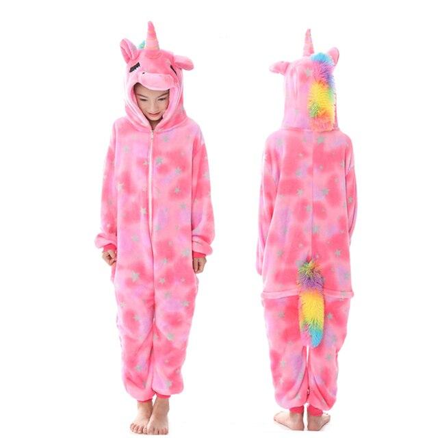 Girls Boys Winter Kigurumi Pajamas Unicorn Cartoon Anime Animal Onesies Kids Sleepwear Flannel Warm Jumpsuit Children Pajamas 3
