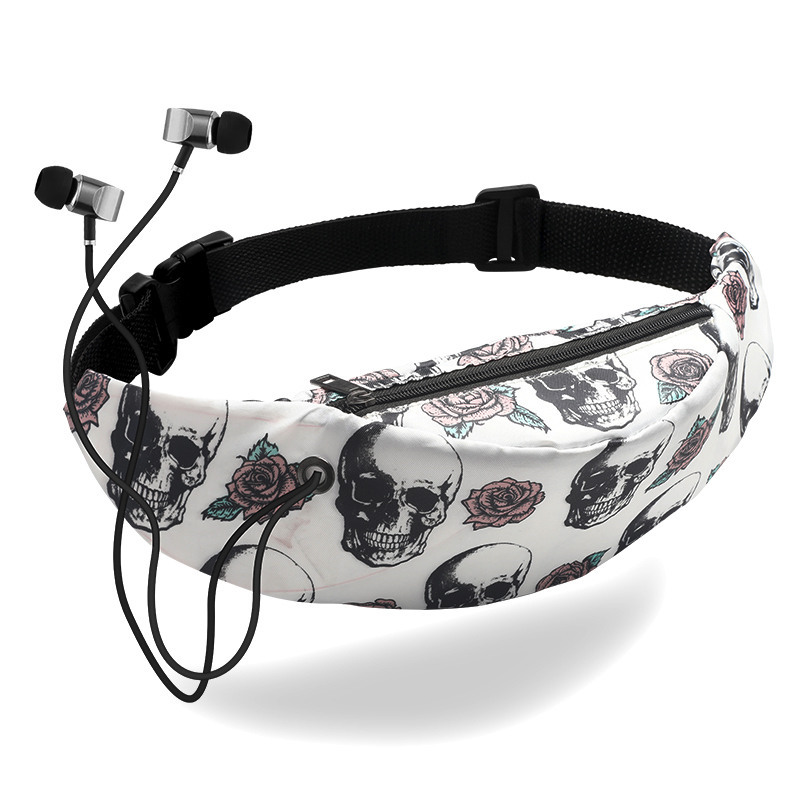2019 Waist Bag Female Canvas Floral Print Belt Purse For Women Skull Waist Packs Simple Waterproof Waist Pack Pocket With Holes