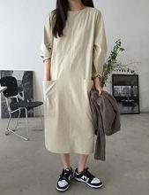 Robe longue en coton Tencel de styliste coréen, grande poche, ample, simple, nouvelle collection été 2021