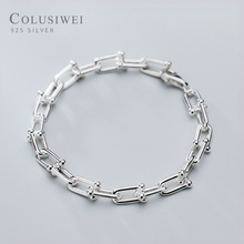 COLUSIWEI Genuine 925 Sterling Silver Simple Button Bracelet For Women