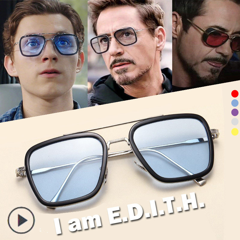 EDITH Glasses Spider Man Glasses Far From Home Peter Parker Iron Man Avengers TONY Stark Sunglasses Men Eyewear Sun Halloween
