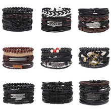 New Retro Woven Combination Set Cowhide Hand Rope Mens Leather Bracelet Knitting High Quality Chain Simple and Elegant