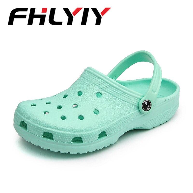 Fhlyiy 36-44 Summer Men'S Jelly Sandals Breathable Beach Sandal Outdoor Man Casual Croks EVA Flip-Flops Sandalias For Female
