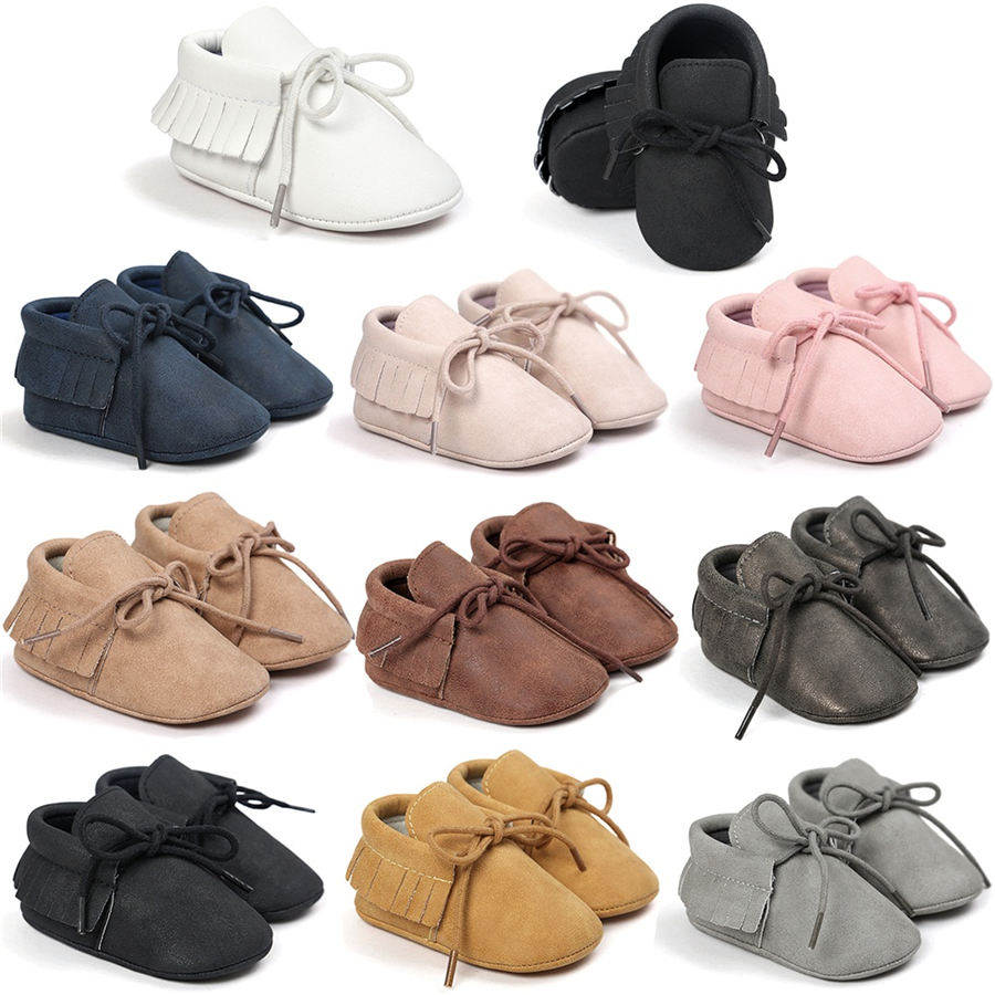 Baby Tassel Soft Sole Suede Shoes Anti-slip First Walkers Infant Toddler Newborn Boy Girl Moccasin Shoes Autumn 0-18M