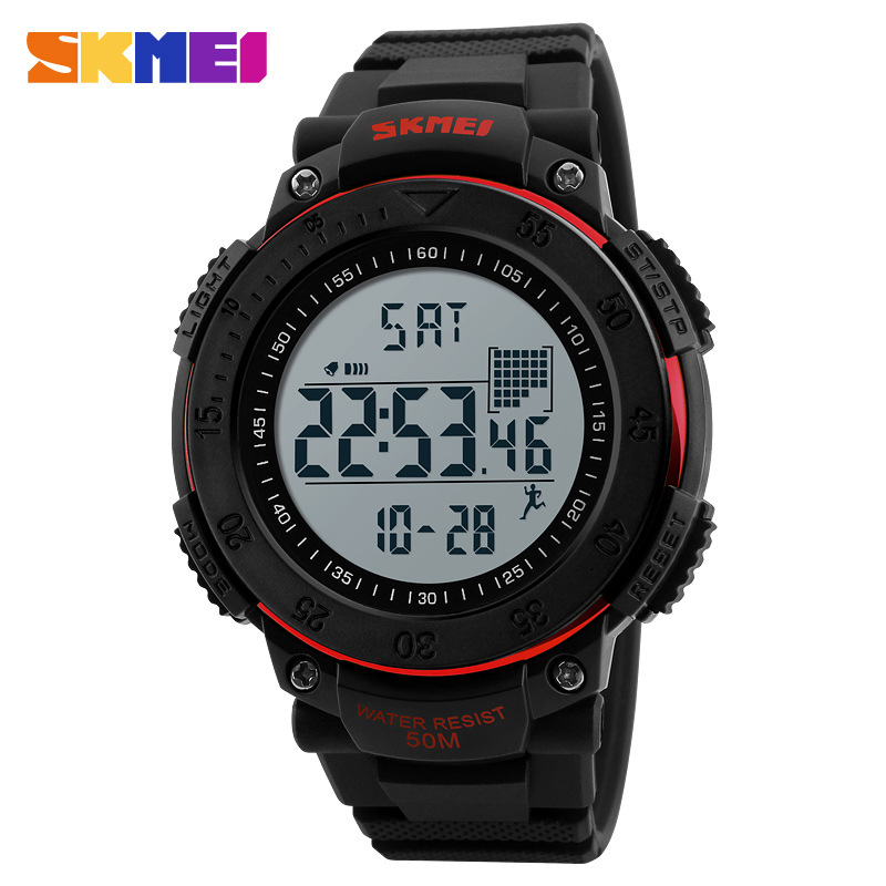 <font><b>Skmei</b></font> <font><b>1238</b></font> Sports Calories 3D Step Count Men Silica Gel Electronic Watch image