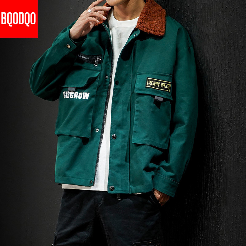 BQODQO Winter Army Streetwear Jacket Mens Clothing Autumn Military Style College Jackets Hip Hop Turndown Velet Collar Coats Men