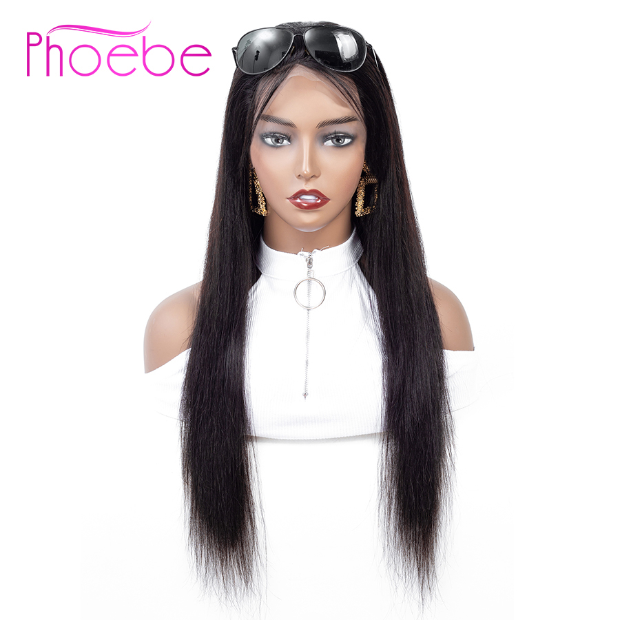 Phoebe Brazilian 4x4 Lace Closure 100 Human Hair Wigs For Black Women Remy Hair Straight Wave