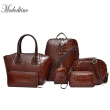 Mododiino 6PCS Women Handbag Set Crocodile Leather Shoulder Bag Composite Female Crossbody Day Clutches Wallet DNV1190