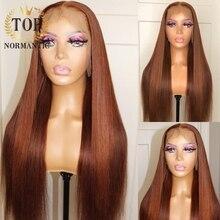 2 cor reta t parte peruca do laço preplucked hairline perucas de cabelo humano em linha reta de seda da cor do destaque