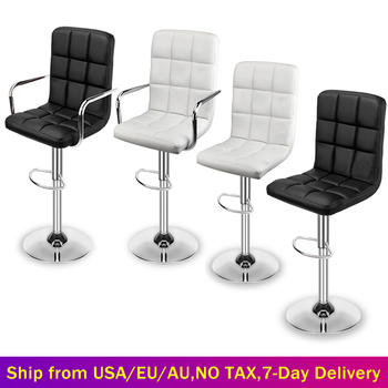Modern Set of 2 Swivel Bar Stools PU Leather Adjustable Bar Chairs Gas Lift Counter Dining Chairs for Kitchen Office Desk Salon
