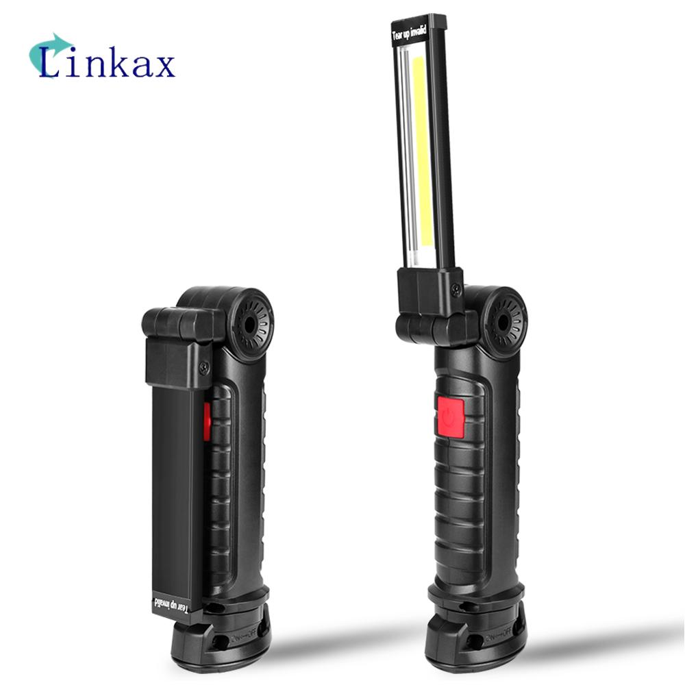 5 Modes Portable COB LED Flashlight Magnetic Torch Battery Work Light Inspection Lamp For Outdoor Camping Working Car