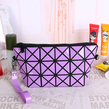Korean version of the folding creative rhombic multi-function cosmetic bag zipper clutch bag portable storage bag недорого