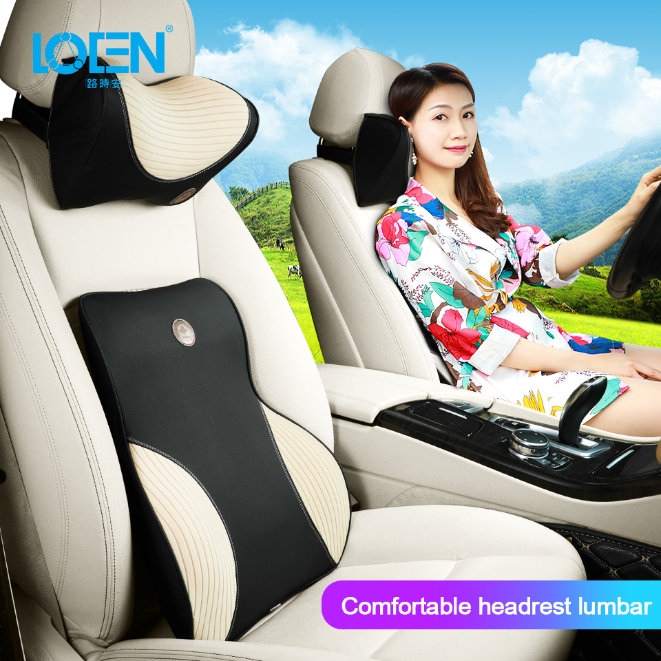 Car Seat Memory Pillow Headrest Lumbar Support For Comfortable Universal Car Black/Brown/Beige/Red 4 Seasons Driving Travel