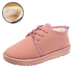 Image 2 - NKAVQI ใหม่ฤดูหนาวรองเท้าผู้หญิงแบนรองเท้าหิมะรองเท้าหนังนิ่มผู้หญิง Plush พื้นรองเท้า Botas Mujer ขนสัตว์รองเท้าสบายๆ
