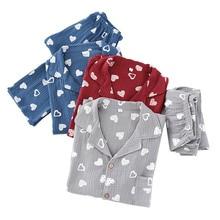 Sleepwear Pajamas-Set Cardigan Cotton Men's Comfort Full Pants Gauze Loose Heart-Printed
