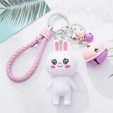 Cartoon Bear Rabbit Keychain Lucky Cat My Little Doll Bell Couples Bag Weaving Key Chain DIY Accessories(China)