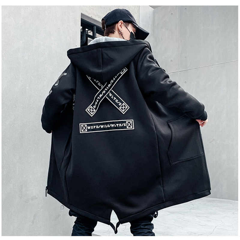 <font><b>Winter</b></font> Slim Long Trench Coat Men Letter Print <font><b>Military</b></font> <font><b>Style</b></font> Hooded Overcoat Black Hip Hop Streetwear Autumn Korean Mens <font><b>Jacket</b></font> image
