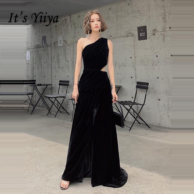 It's Yiiya Evening Dress Black One Shoulder Long Formal Evening Dresses Plus Size For Women E1352 Hollow  Robe De Soiree 2020