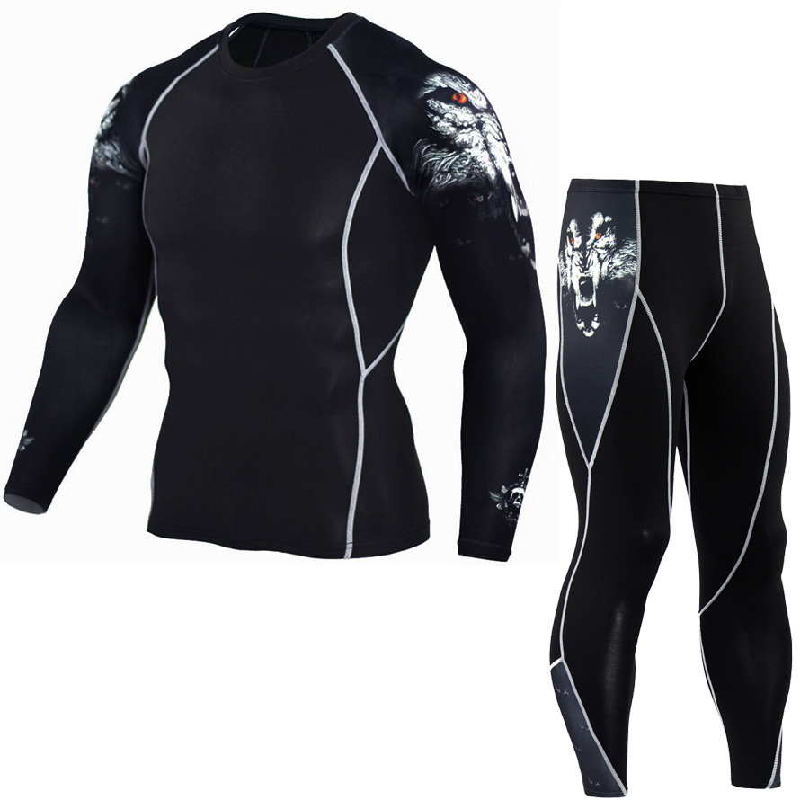 Men's Compression Set Running Tights Workout Fitness Training Tracksuit Long Sleeves Shirts Sport Suit Rashgard Kit  2019 S-4XL
