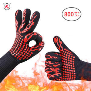 High Quality 800 Degree High Temperature Resistant Gloves Insulation Anti-scalding Microwave Oven BBQ Gloves