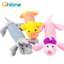 Popular Pet Dog Cat Funny Fleece Durability Plush Dog Toys Squeak Chew Sound Toy Fit for All Pets Elephant Duck Pig Plush Toys цена