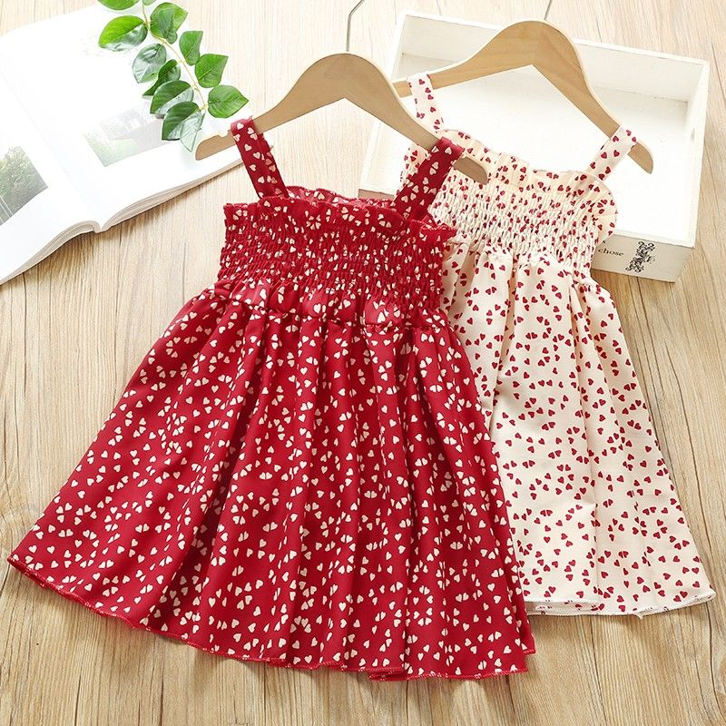 VIDMID Summer New party style clothes Girls Sexy Dress Red floral Plaid children kids Sleeveless cotton Short Dresses P510 1