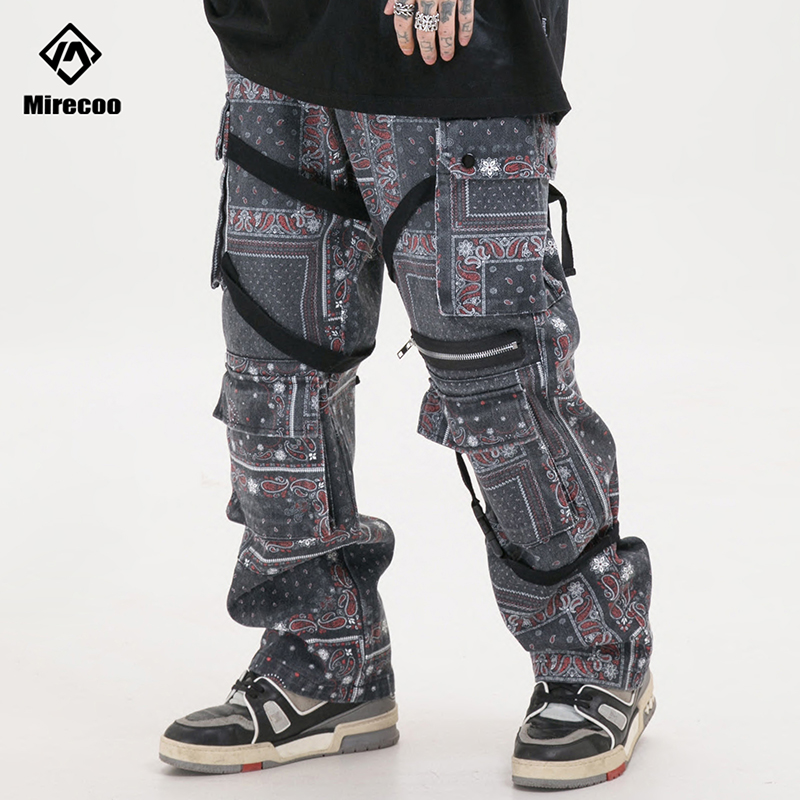 Paisley Pattern Baggy  Jeans Pants Men Ripped Biker Straight Jeans For Men Clothe Harajuku Denim Pants 2020 Fashion Streetwear
