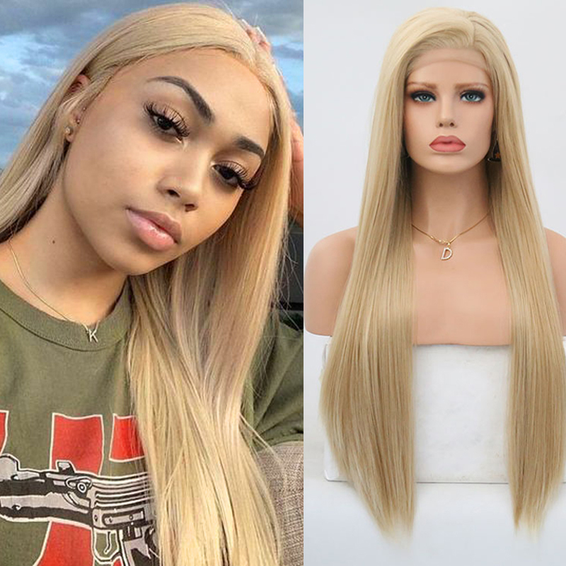 Парики из длинных и прямых волос Charisma Blonde, синтетические волосы на фронтальной части, термостойкие, неклеящиеся, для женщин