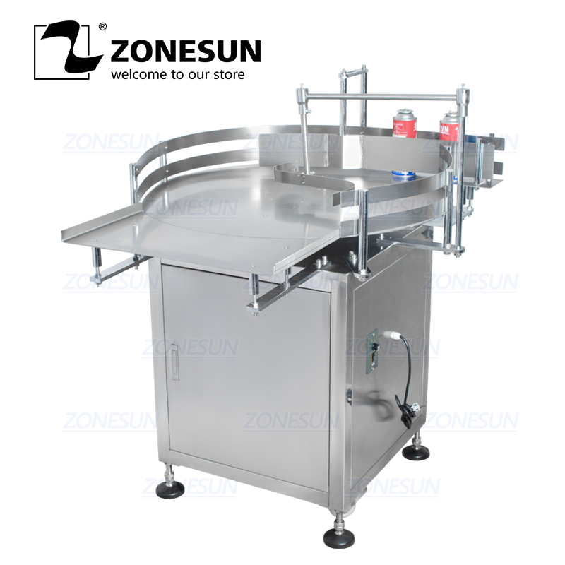 ZONESUN Automatic Round Rotary Plastic Glass Bottle Unscrambler Food Packing Sorting Turntable Feeding Table Arranging Machine