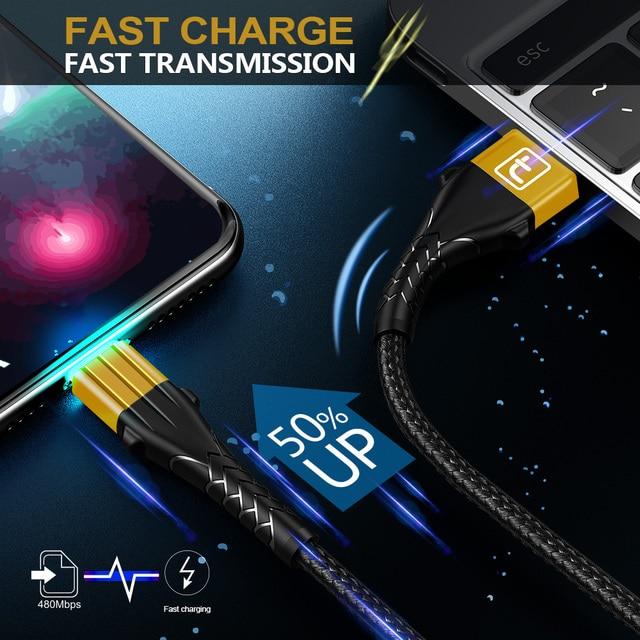 Contrazione 3A USB Tipo di Cavo C Per Samsung S10 9 Note 10 Tipo di Carica Veloce-C Del Telefono Mobile di Ricarica filo USB C Cavo Per Huawei P30 6