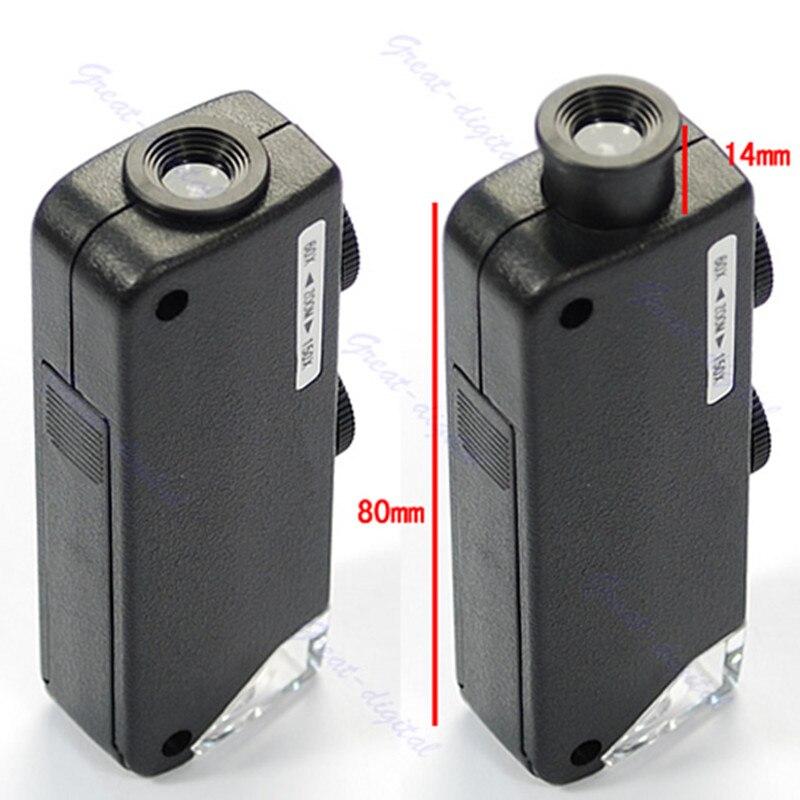 Microscópio de Bolso para Mão Microscópio de Bolso 60x-100x com Bolsa de Couro Mini Lupa