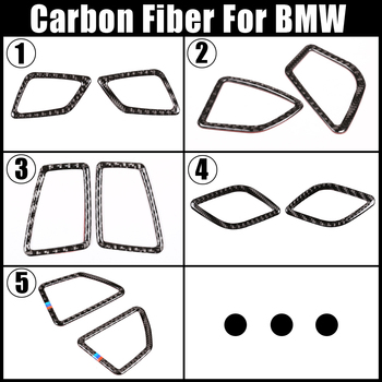 For BMW 1 3 Series F20 F21 GT F30 F34 E90 E92 E93 E84 X1 X5 X6 E70 E71 Carbon Fiber Car Air Condition Outlet Frame Trim Stickers image