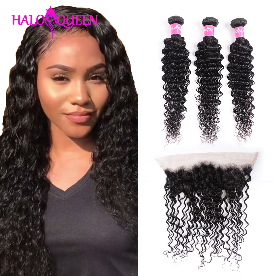 HALOQUEEN Deep Wave Bundles With 13*4  Frontal Malaysia Bundles With Closure Natural Color Human Hair Bundles With Frontal