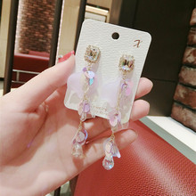 korean new elegant crystal flower long full rhinestone pearl drop earrings fashion women statement  2019 jewelry